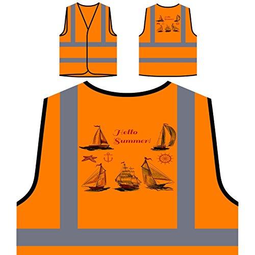 Hallo Sommer Schiffskapitän Neuheit Lustig Personalisierte High Visibility Orange Sicherheitsjacke Weste a824vo