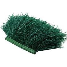 Ribete con flecos de plumas Rosenice - Flecos para manualidades de costura - Decoración de disfraces (verde oscuro)