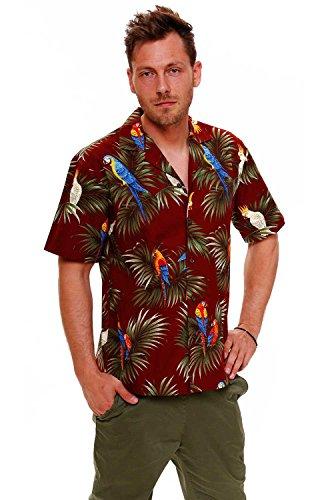KYs-Original-Camisa-Hawaiana-Caballeros-S-4XL-Manga-Corta-Bolsillo-Delantero-Estampado-Hawaiano-Flores-Azul