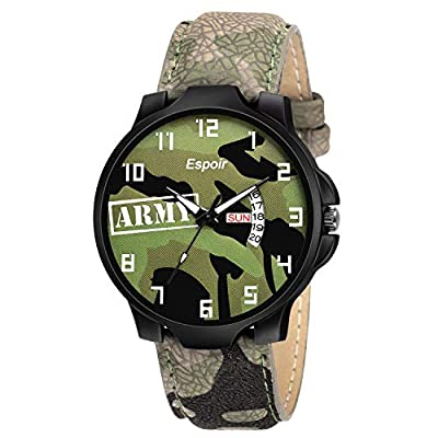 Espoir Analogue Green Dial Day and Date Men's Boy's Watch - Army Green