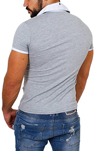 CARISMA Herren 2in1 double Look T-Shirt mit Hemdkragen slimfit stretch Kontrast Optik Grau