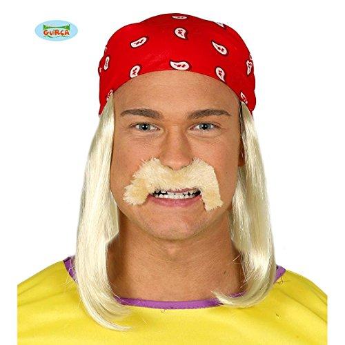 Rocker Kopftuch Hulk Hogan Perücke mit Bart rotes Bandana mit Langhaarperücke Wrestler (Für Hogan Hulk Kostüme Erwachsene)
