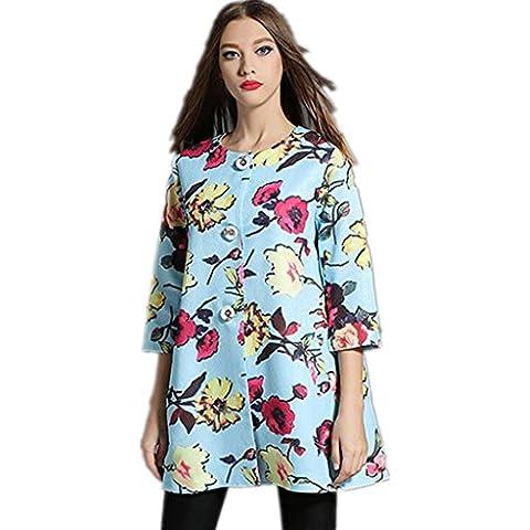 ZYQYJGF Stampa Trench Donna Coat Sartoriale Faux Retro Tasca Casual Classico Lungo Manica Impunture Molle Esile . L