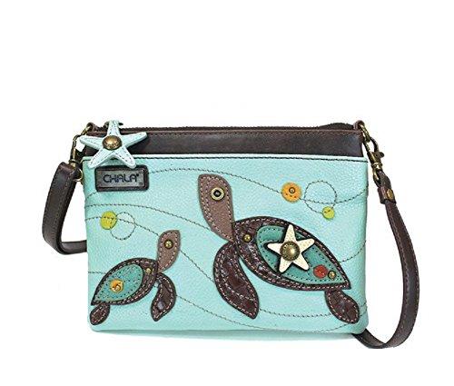 CHALA Mini-Handtasche mit mehreren Reißverschlüssen, PU-Leder, kleine Schultertasche, verstellbarer Riemen (Handtasche Satchel Tan)