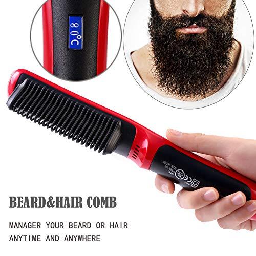 Peine alisador de barba portátil Chainplus, rizador de pelo de cerámica y peine alisador, herramienta de peinado, pantalla LCD