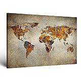 ge-Bildet® Bild auf Leinwand MIT HERBST RABATT 'Weltkarte Retro' Weltkarte Leinwand - 100x70 cm einteilig XXL - direkt vom Hersteller aus Deutschland - Made in Germany 2201 F