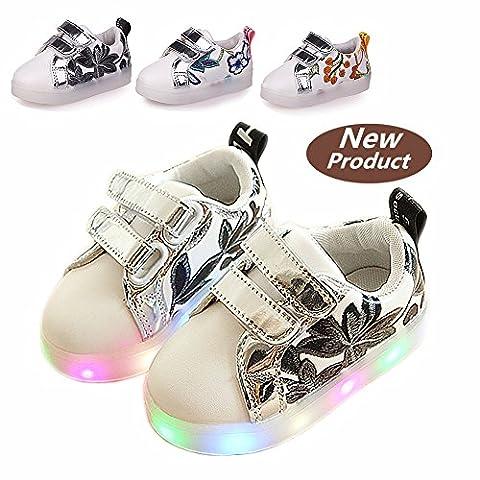 Chaussures Enfant, Chickwin LED Chaussures Lumineuse Bébé Enfant Unisexe Confortable Sneakers Clignotant LED Chaussures (23 / Mesure à l'intérieur (cm) 14.5, Noir)
