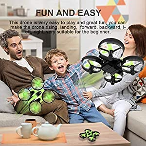EACHINE E010 Mini Drone 2.4G 4Canales 6 Ejes Radio Control Modo sin Cabeza 3D Vuelto Drones para Niños (Verde)