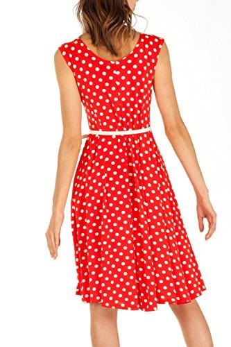 Damen Kleider, Kleid mit Polka Dots k68p Marineblau