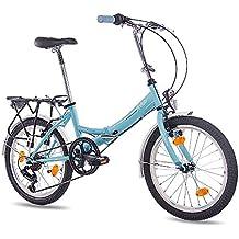 20 pulgadas bicicleta plegable para bicicleta plegable bicicleta CHRISSON foldo con 6 velocidades Shimano Azul.