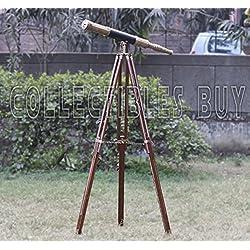 Télescope Marin Nautique Style ancien Cuir noir Bois Avec pied