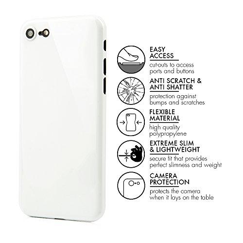"""QUADOCTA iPhone 7 (4,7"""") Ultra Slim Hülle - Schutzhülle - """"Tenuis"""" in Schwarz - Ultra dünnes Case - Leicht transparentes Cover kompatibel mit Apple iPhone7 mit Kameraschutz Diamant Weiß"""