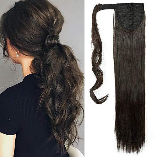 "TESS Pferdeschwanz Extensions Dunkelbraun Ponytail Haarteil Clip in wie Echthaar Haarverlängerung günstig Zopf Extensions Haarteile Glatt 23\""(58cm)-90g"
