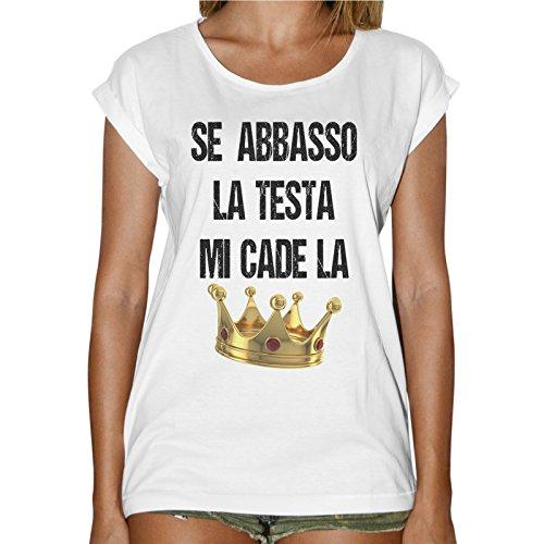 T-Shirt Donna Fashion Se Abbasso La Testa Mi Cade La Corona - Bianco Bianco