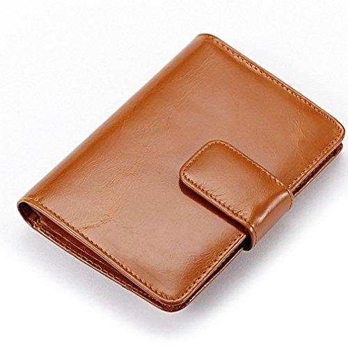 edfamily Echteder Geldbörsen Geldbeutel Kreditkartenetui Visitenkarten Münzbörsen Tasche für Damen und Herren (Brown) Brown