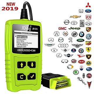 JDiag OBD2 Diagnosegerät OBD Code-Scanner-Fahrzeug-Fehlercodeleser arbeitet an allen Autos mit OBD2 / EOBD / CAN-Modi und 16-Pin OBDII-Schnittstelle für Lesen und Löschen Fehlercode und Batterie Test