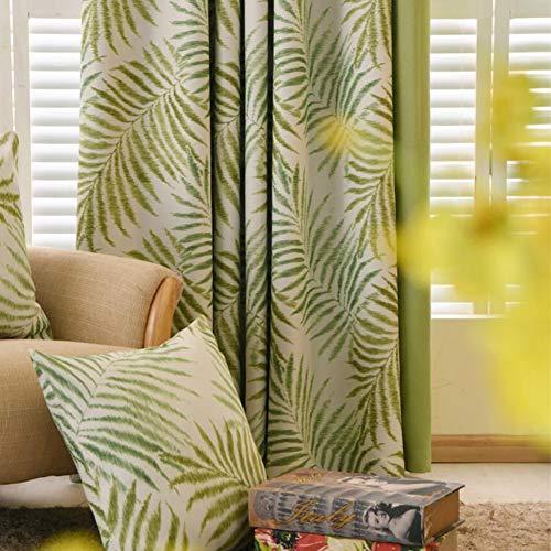 ZYY-Home curtain Blickdichte Vorhänge Verdunklungsgardinen Pflanzendruck mit Ösen Energiespar & Wärmeisolierend für Schlaf und Wohnzimmer Vorhänge,Green,W120xL140cm*1piece (Vorhänge Für Green Wohnzimmer)