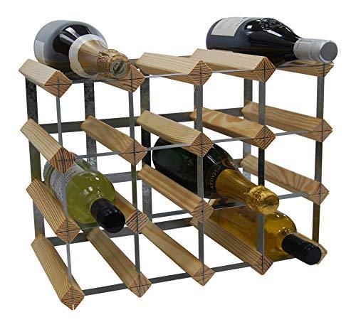 DS Wine Wine Weinregal für 16 Flaschen, traditionelles Design, FSC-zertifiziertes Kiefernholz