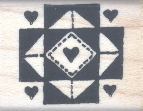 Quilt Hearts Rubber Stamp - 1