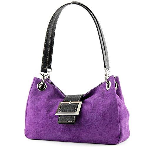 modamoda de - Made in Italy ital. Mesdames sac à main fourre-tout Satchel sac en cuir suède Petit TL02, Präzise Farbe (nur Farbe):Lila