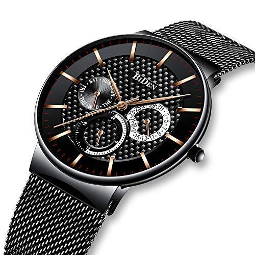 �nner Edelstahl Wasserdicht Mesh Uhr Datum Kalender Einfache Designer Analoge Quarzuhr Herren Luxus Geschäft Klassisch Kleid Gents Uhren für Männer (Schwarz) ()