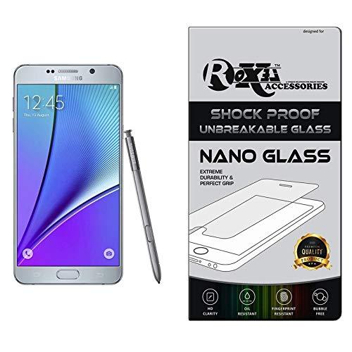 Roxel® Samsung Galaxy Note 5 Flexiable Nano Glass Screen Protector with Unbreakable Nano Film Glass [ Better Than Tempered Glass ] Screen Protector for Samsung Galaxy Note 5 (Dual Sim) (Silver Titani