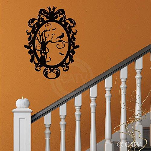 leber Rahmen 8Scary Baum mit Krähe Hochformat Vinyl Schriftzug Aufkleber Home Decor Art Wand Aufkleber (mittelgroß 16,5x 22) ()