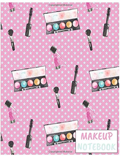 Makeup Notebook: Cute Makeup/Cosmetics Notebook/Journal for Fashion Lovers to Writing (8.5x11 Inch. 21.59x27.94 cm.) Wide Ruled Lined Paper 110 Blank Pages (PINK&WHITE&BLUE Pattern)