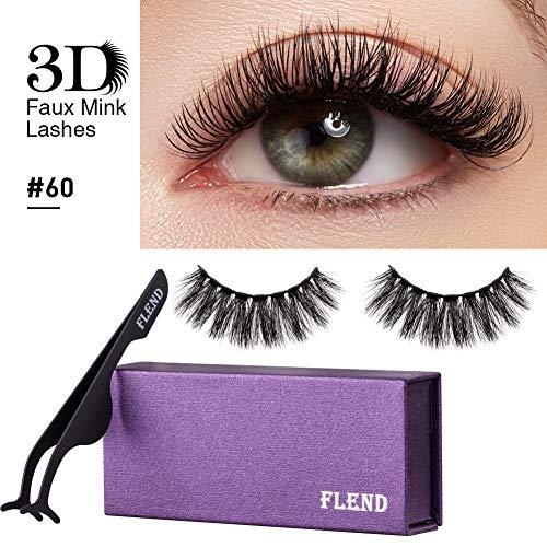 Flend ®Wimpern, wiederverwendbare falsche Wimpern,3D Lange dicke gefälschte Wimpern Set für Make-up mit Applikator & Etui (#60) -
