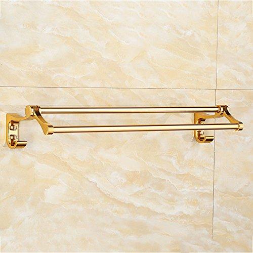 Hlluya Handtuchhalter Der Raum Aluminium Gold Doppel Pole Einhebelsteuerung Handtuchhalter Handtuchhalter Badezimmer Suite von, 60 * 17 * 9.