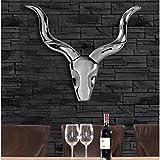 Lounge-Zone Wandgeweih Antilope Namibia Deko für die Wand Afrika Horn Hörner Accessoire Wanddeko Geweih Wandskulptur Metall Silber 55cm #15129