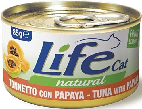 Lifecat Natural per Gatto in Scatoletta da 85 Gr, Tonnetto e Papaya