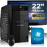 """Leises Einsteiger & Multimedia PC-Komplettpaket AGANDO campo 5374a4   AMD A4-5300 2x 3.4GHz   8GB RAM   AMD HD7480D 2GB   1000GB HDD   DVD-RW   Gigabit-LAN   7.1 Sound   Win7Pro   55cm (22"""") TFT   Tastatur   Maus   36 Monate Garantie"""