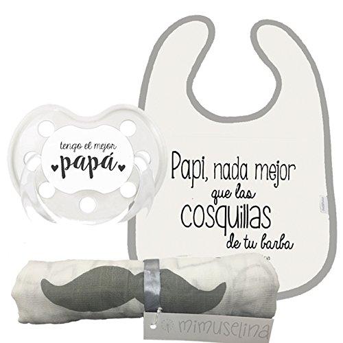 Mimuselina Pack Regalo Día del Padre | Regalo para Papás y Bebés, Muselina de Algodón, Chupete y Babero con Mensajes Originales para Papi y Bebé, Ideal para Papás Primerizos