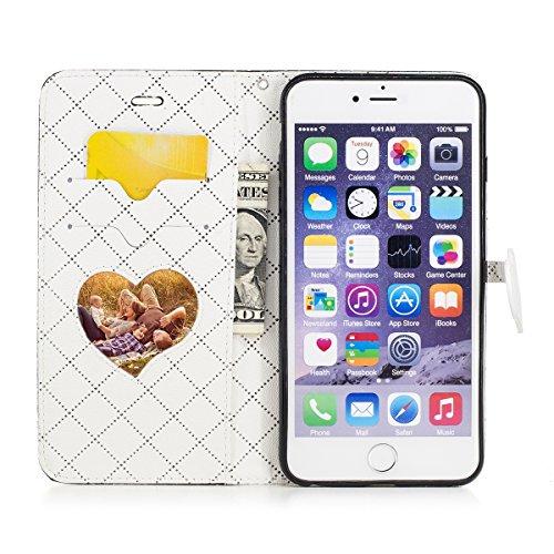 Felfy Hülle iPhone 6S Plus Leder,iPhone 6 Plus Case Leder,iPhone 6S Plus Tasche Schmetterling Flip Case PU Leder Brieftasche Flip Case Cover [PU Leder & Silikon Innenschale] SchutzHülle Mädchen Bling  Liebe Schwarz