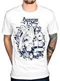 AWDIP Offizielles Adventure Time Gruppe Splat T-Shirt Finn Jake Cartoon Land der Ooo Gr. Größe L, weiß