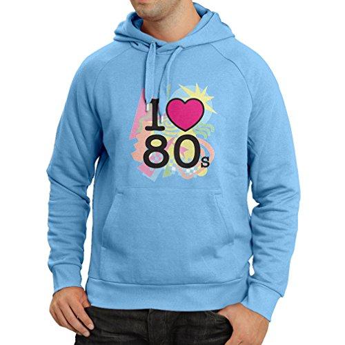 Kapuzenpullover Ich liebe 80er Konzert t-shirts Weinlese Kleidungs Musik t-shirts geschenke (Small Blau (1980er Kostüme Ideen Jahre)