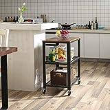VASAGLE Servierwagen im Industrie-Design, Küchenwagen, Rollwagen, Küchenregal, aus Holz und Metall, auf 4 Rollen, 3 Ebenen für Küche und Wohnzimmer, Vintage LRC78X - 3