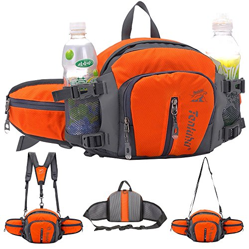 SINOKAL Multifunctional Military Style Canvas Waist Pack Bag Water Resistance Fanny Packs with Water Bottle Holder for Running Hiking Cycling Climbing Camping Traveling (Orange)