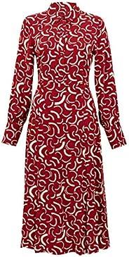فستان Mark & Spencer نسائي متوسط الطول مطبوع عليه شكل دوارة،