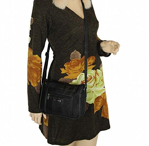 Borsa a tracolla da donna, in pelle di agnello, nero (Schwarz (22x19 cm)), 22x19 cm Schwarz (23x18 cm)