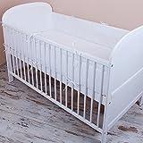 Cuna Nest–Protector de cabeza cuna 420x 30cm, 360x 30cm, 180x 30cm Cama Cuna Baby Protector de bordes cama Equipamiento Monótono de color blanco
