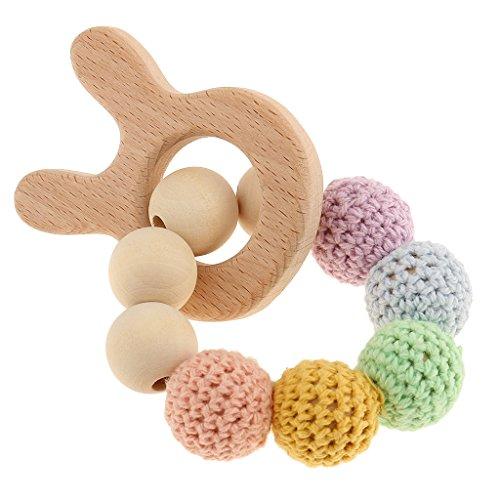 Preisvergleich Produktbild MagiDeal Holz Häkeln Perlen Armband Beißring Baby Kid greifen Pflege Spielzeug Zahnring - Kaninchen