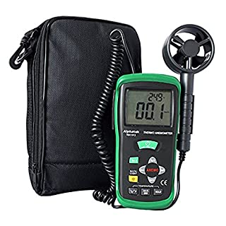 Alphatek TEK1313 - Digital LCD Thermo-Anemometer / Wind Speed / Air Velocity Meter, Great For Checking HVAC Installations Are In Good Working Order, Shows Air Velocity, Air Flow & Ambient Temperature
