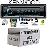 FIAT Punto EVO / 199 - Autoradio Radio Kenwood KDC-BT530U - Bluetooth | Spotify | iPhone | Android | CD/MP3/USB - Einbauzubehör - Einbauset
