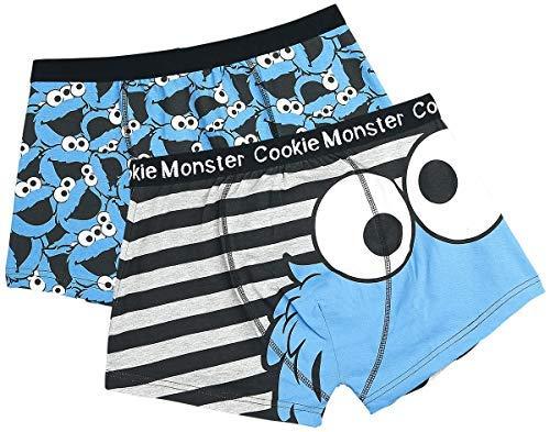 Sesamstraße Herren Boxershorts 2er-Pack Cookie Monster Schwarz M
