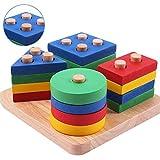 CGBOOM Farben und Formen Sortierspiel Lernspielzeug Holzpuzzles Geometrisches Stapel Steckspiel für Kleinkind Kinder