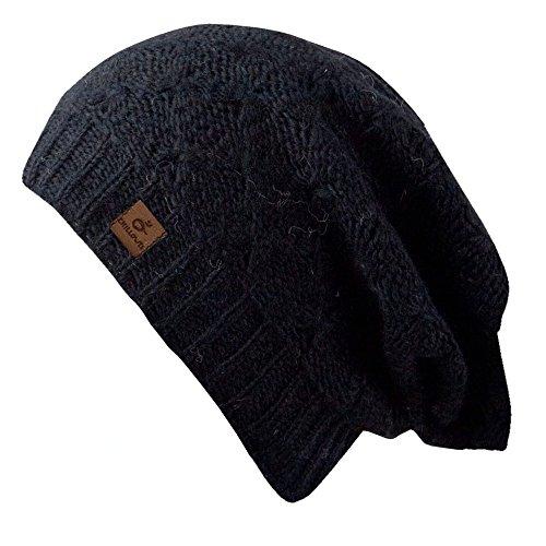 Nova Hat - Bonnet en tricot à la mode pour les dames - fait main au Népal - 2014, bonnet tricoté avec voile, chapeau mou Black