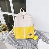 SEBAS Home Persönlichkeit Rucksäcke High School Student Umhängetasche Nylon Stitching Schultasche Rucksack (Color : Yellow)