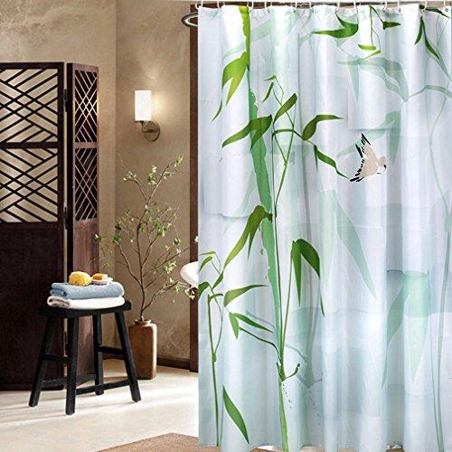 Hot izuhause® 3D Wasserdichter Duschvorhang mit Ink Bambus Anti-Schimmel- Antibakteriell, waschbar ,mit 12 Duschvorhangringen 100% Polyester,180*200cm